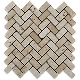 Ivory (Light) Travertine 1 X 2 Herringbone Mosaic Tile, Tumbled - Box of 5 sq. ft.