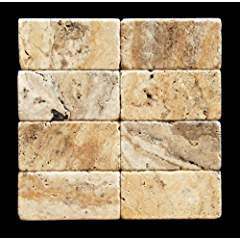 Scabos Travertine 3 X 6 Brick Tile, Tumbled - Lot of 50 sq. ft.
