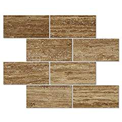 Noce Vein-Cut Travertine 3 X 6 Rectangular Field Tile, Polished (LOT of 5 SQ. FT.)