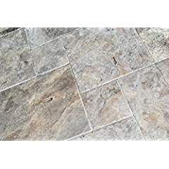 Silver Latte Travertine Brushed and Chiseled Versailles French Pattern Premium Quality Tiles (Small Sample)