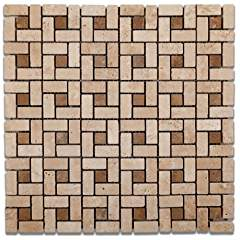 Ivory/Light Travertine Tumbled Mini-Pinwheel Mosaic Tile w/Noce Dots - 6