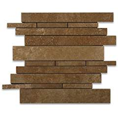 Noce Travertine Honed Random Strip Mosaic Tile - Box of 5 sq. ft.
