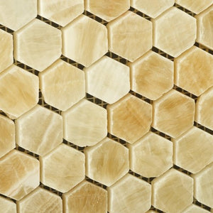"Honey Onyx Polished 1"" Mini Hexagon Mosaic Tile (6"" X 6"" Sample)"