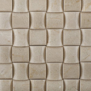 "Crema Marfil Marble Polished 3D Small Bread Mosaic Tile - 6"" X 6"" Sample"