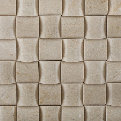 Crema Marfil Marble Polished 3D Small Bread Mosaic Tile - Box of 5 sq. ft.