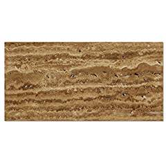 Noce Vein-Cut Travertine 6 X 12 Rectangular Field Tile, Brushed & Unfilled (LOT of 50 SQ. FT.)