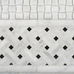 "Carrara White Marble Polished Stanza Basketweave Mosaic Tile with Black Dots - 6"" X 6"" Sample"