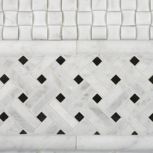 Carrara White Marble Polished Stanza Basketweave Mosaic Tile with Black Dots - 6
