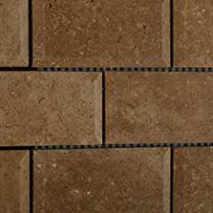 Noce / Noche Travertine 2 X 4 Beveled Brick Mosaic Tile - Lot of 50 sq. ft.