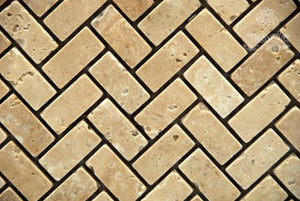 Chiaro Tumbled Travertine Baby Herringbone Mosaic Tile