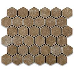 "Noce Travertine Tumbled 2"" Hexagon Mosaic Tile on Mesh - Box of 5 sq. ft."