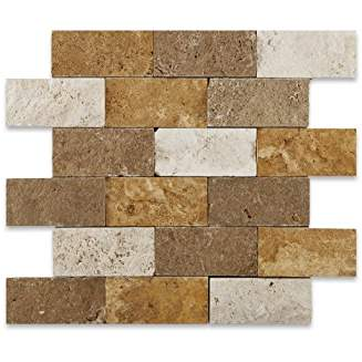 Mixed Travertine 2 X 4 Split-Faced Brick Mosaic Tile - Box of 4 sq. ft.