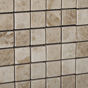 Cappuccino Marble Polished 1 X 1 Mosaic Tile on Mesh - Lot of 50 sq. ft.
