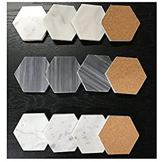 Natural Stone Real Italian Marble Hexagonal Coasters with Cork Backing (6, THASSOS WHITE)