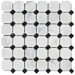 Oriental White (Eastern White) Marble Octagon Mosaic Tile w/ Black Marble Dots, Honed - Box of 5 Sheets