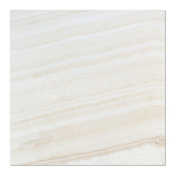 White Onyx (Bianco Fantastico) 18 X 18 Field Tile, Vein-Cut, Polished (Small Sample)