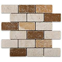Mixed Travertine 2 X 4 Tumbled Brick Mosaic Tile - Box of 50 sq. ft.