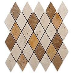 Mixed Travertine 2 X 4 Tumbled Diamond Mosaic Tile - Box of 5 sq. ft.