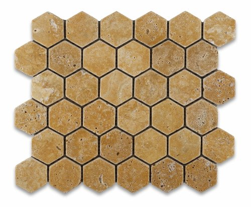 Gold / Yellow Travertine Tumbled 2 Hexagon Mosaic Tile - 6