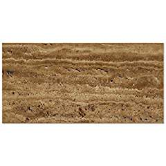 Noce Vein-Cut Travertine 12 X 24 Rectangular Field Tile, Brushed & Unfilled (Small Sample)
