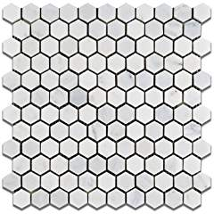 "Oriental White - Eastern White Marble 1"" Hexagon HONED Mosaic Tile - Lot of 50 Sheets"