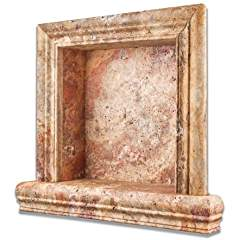 Scabos Travertine Honed Hand-Made Custom Shampoo Niche - SMALL