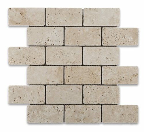Ivory Travertine 2 X 4 Tumbled Brick Mosaic Tile - 1 Full Sheet