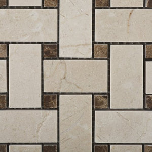 "Crema Marfil Polished Basketweave Mosaic Tile w/ Emperador Dark Dots - 6"" X 6"" Sample"