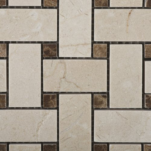 Crema Marfil Polished Basketweave Mosaic Tile w/ Emperador Dark Dots - 6