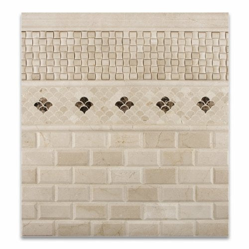Crema Marfil Marble Polished Fan Mosaic Tile - Lot of 50 sq. ft.