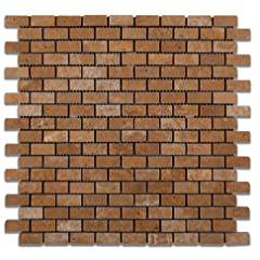 Noce Travertine Mini - Brick Tumbled Mosaic Tile - 6