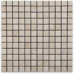 Ivory Travertine 1 X 1 Tumbled Mosaic Tile - Lot of 50 sq. ft.