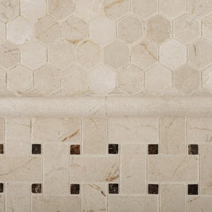 "Crema Marfil Marble Polished 1"" Mini Hexagon Mosaic Tile - 6"" X 6"" Sample"