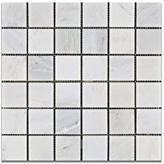 Oriental White - Eastern White Marble 2 X 2 HONED Mosaic Tile - Box of 5 Sheets
