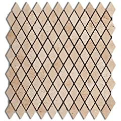 Ivory / Light Travertine 1 X 2 Diamond - Rhomboid Tumbled Mosaic Tile - 6