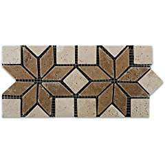 Ivory & Noce Travertine Tumbled Floral Border Listello - Box of 5 pcs.