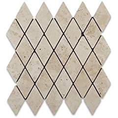 Ivory Travertine 2 X 4 Tumbled Diamond Mosaic Tile - Lot of 50 sq. ft.