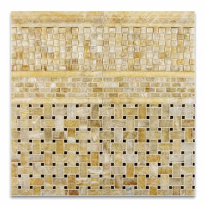 "Honey Onyx 3D Small Bread Mosaic Tile, Polished - 6"" X 6"" Sample"