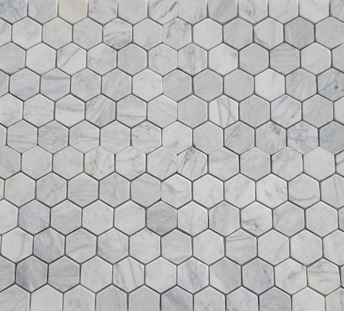 Bianco Venatino Marble Tumbled 2 inch Hexagonal Mosaic Tile - STANDARD QUALITY - Lot of 20 Sheets