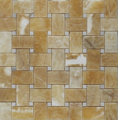 Honey Onyx Basketweave Mosaic Tile with White Marble Dots, Polished