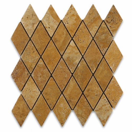 Gold / Yellow Travertine 2 X 4 Tumbled Diamond Mosaic - Box of 5 sq. ft.