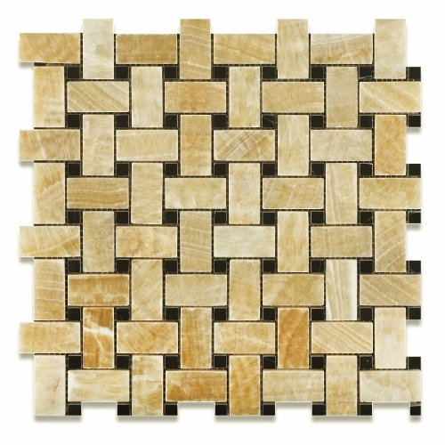 Honey Onyx Polished Basketweave Mosaic Tile w/ Black Dots (6