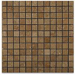 Noce Travertine 1 X 1 Tumbled Mosaic Tile - Lot of 50 sq. ft.