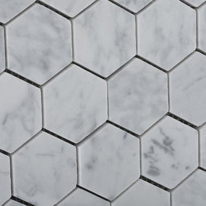 "Bianco Carrara White Marble Polished 2"" Hexagon Mosaic Tile - 6"" X 6"" Sample"