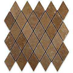 Noce Travertine 2 X 4 Tumbled Diamond Mosaic Tile - Lot of 50 sq. ft.