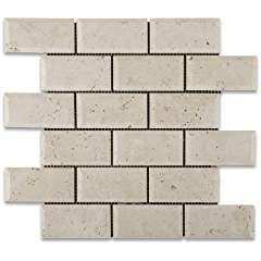 Ivory Travertine 2 X 4 Honed & Beveled Brick Mosaic Tile - Lot of 50 sq. ft.