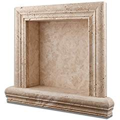 Ivory Travertine Hand-Made Honed Shampoo Niche / Shelf - LARGE