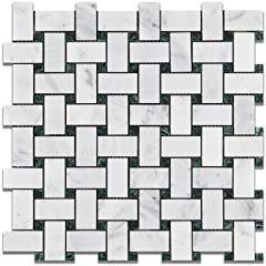 Oriental White - Eastern White Marble HONED Basketweave Mosaic Tile w/ Green Marble Dots - Box of 5 Sheets