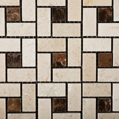 Crema Marfil Polished Pinwheel Mosaic w/ Emperador Dark Dots - Box of 5 sq. ft.
