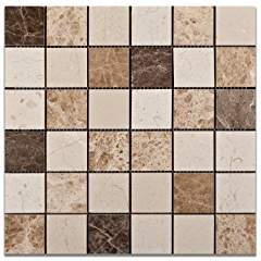 Mixed Marble 2 X 2 Venice Polished Mosaic Tile - Box of 5 Sheets